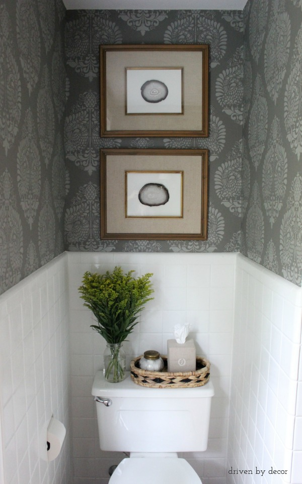 Our stenciled bathroom budget makeover reveal driven by for Toilet room decor