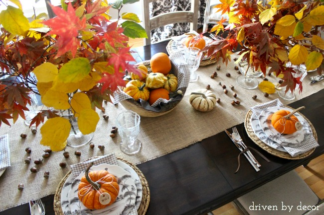 Driven by Decor - Thanksgiving centerpiece with natural elements