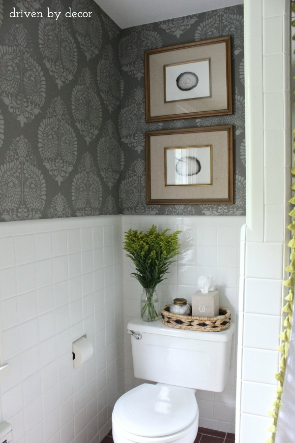 And finally the bathroom reveal driven by decor - How to decorate a water closet ...