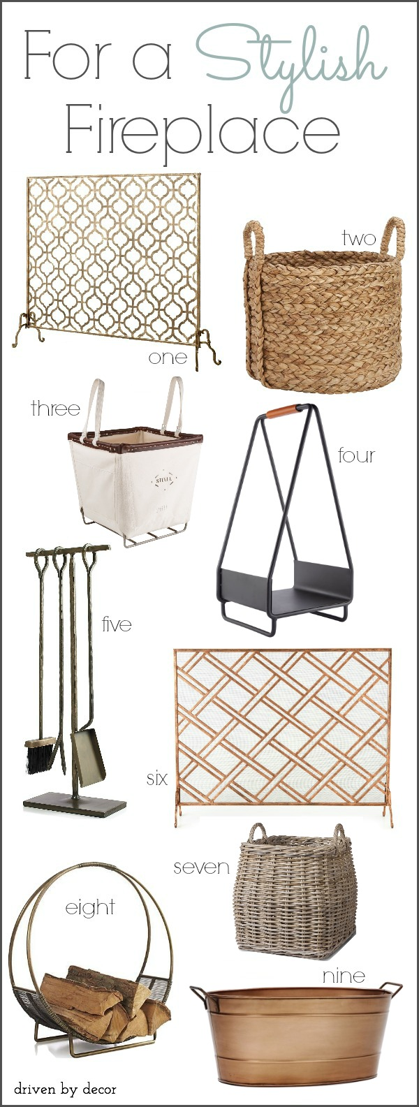 Stylish Fireplace Accessories (Fireplace Screens, Log Holders, & Tools) - Post includes links!