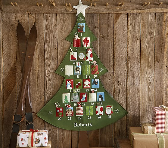 Christmas tree advent calendar with pockets for treats or notes!