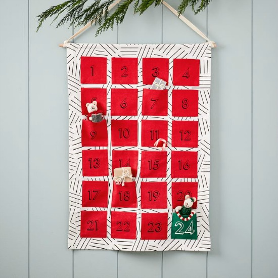 Modern red, black, and white advent calendar