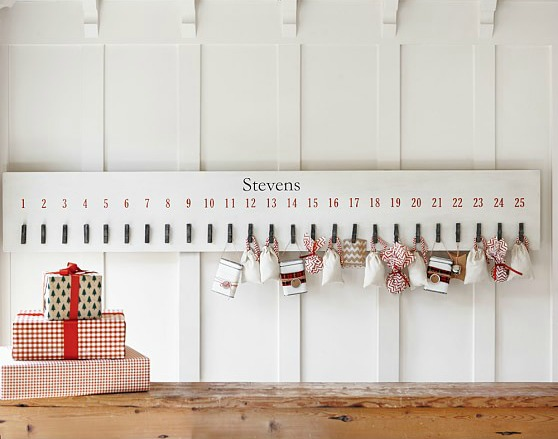 The cutest clothespin advent calendar - clip little packages or goodies on for each day!
