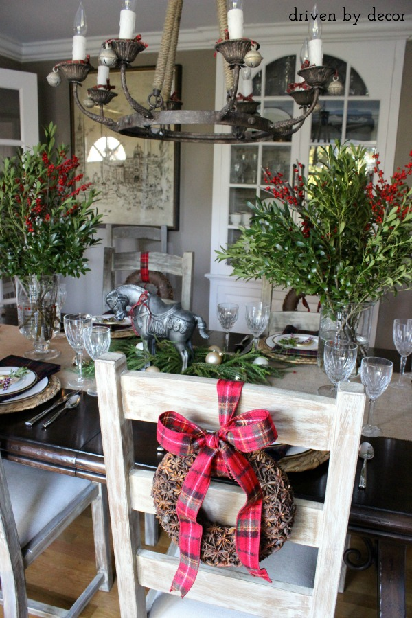 Dining table centerpiece and chair decorations for Christmas