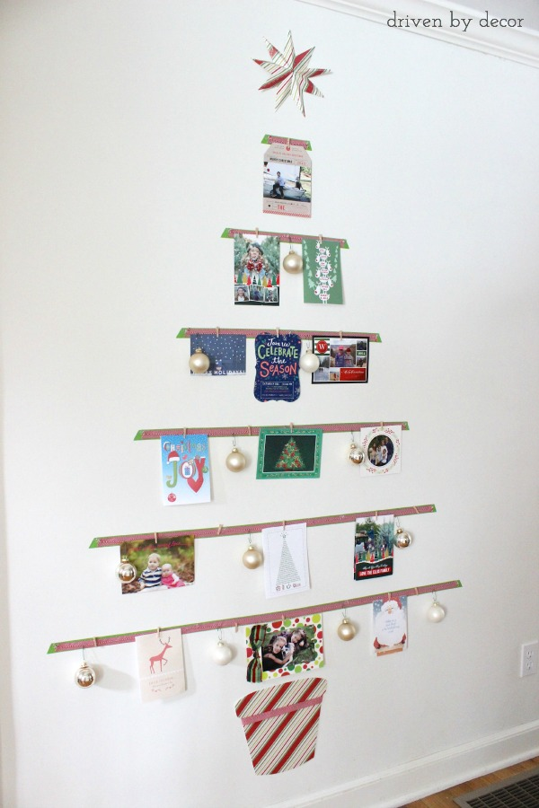 Christmas Wall Decor Recycled : Displaying cards with a diy christmas card tree driven