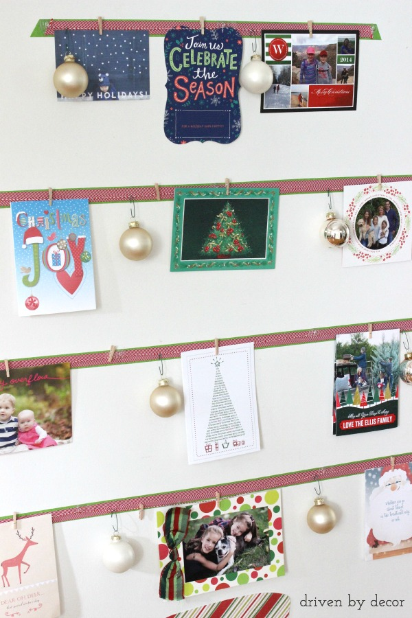 Driven by Decor - Cards clipped onto DIY Christmas card display