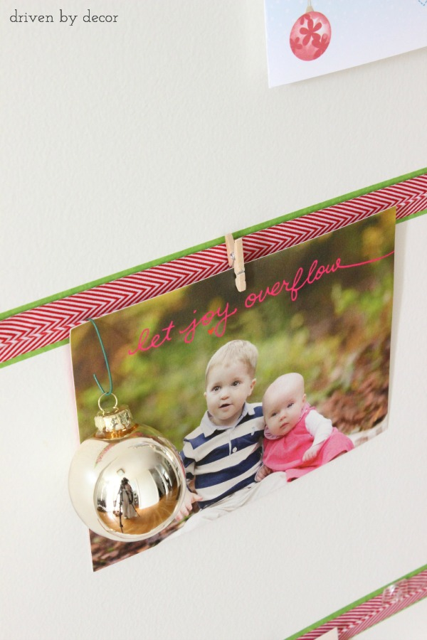 Driven by Decor - Christmas card clipped onto DIY Christmas card display
