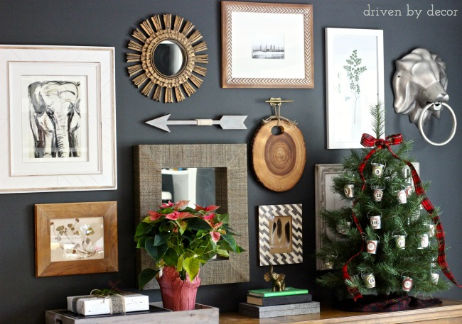 Home Office Gallery Wall Decorated for Christmas