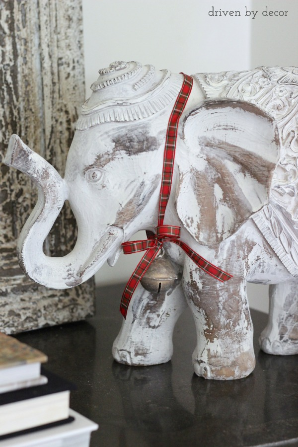 HomeGoods elephant with plaid ribbon and bell!