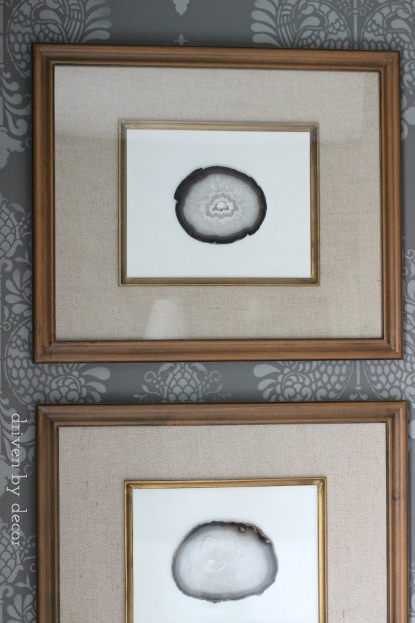Inexpensive DIY art with agate slices in Target frames