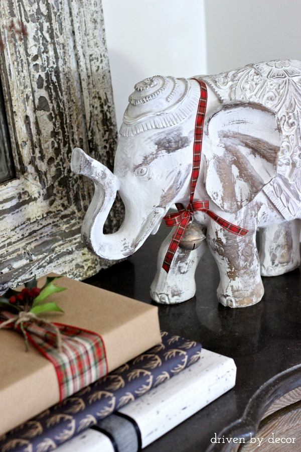 Jingle bell with ribbon on elephant - so cute!