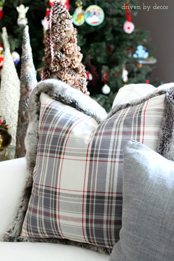 Plaid Christmas pillow from pottery barn (love the fur edge!)