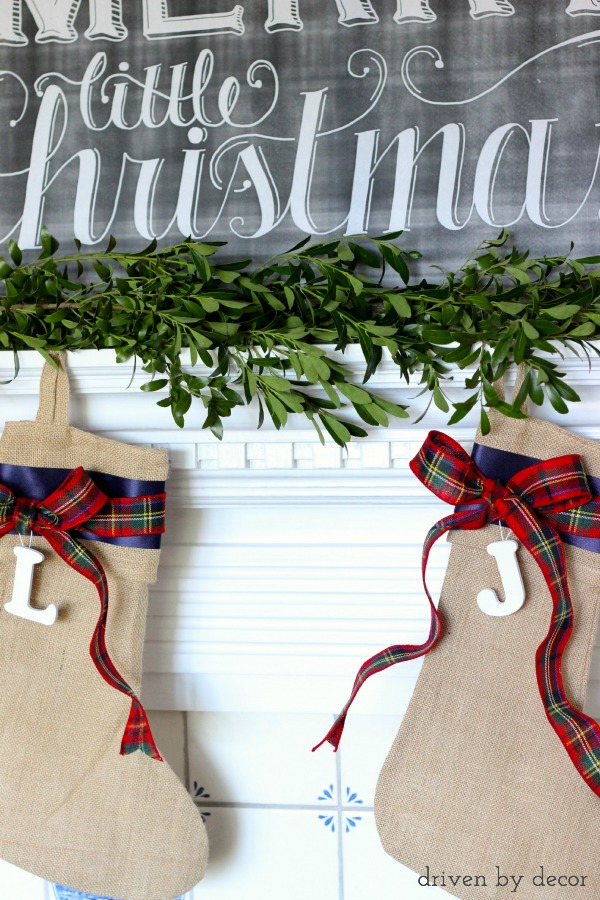 Simple burlap Christmas stockings embellished with ribbon