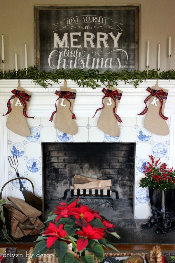 Simple, traditional fireplace mantel decorations