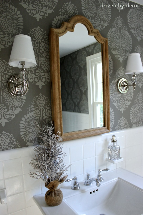 Stenciled Bathroom Walls in Two-tone Gray