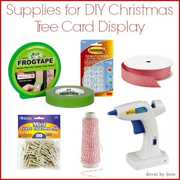 Supplies for DIY Christmas Tree Card Display