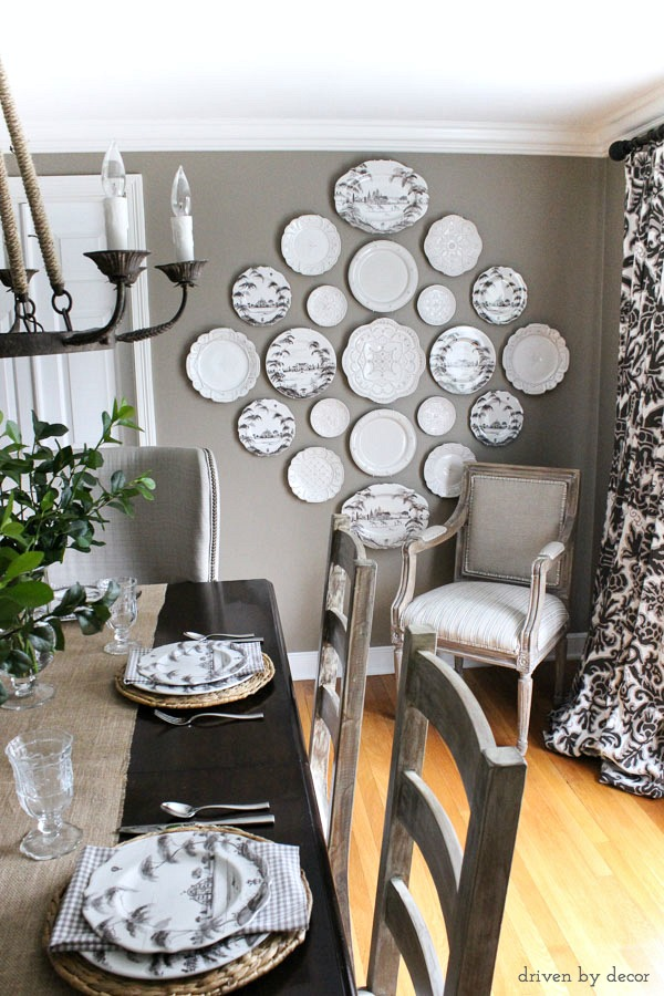 Beautiful plate wall as dining room art!