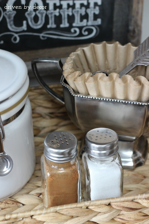 Coffee station cinnamon and sugar in salt & pepper shakers!