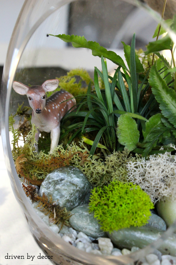 DIY Terrarium with deer figurine