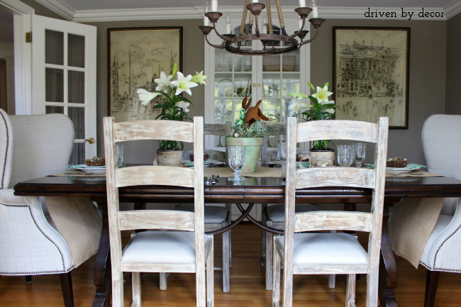 Dining room with table set for Easter