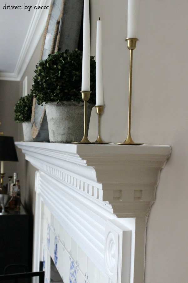 Profile view of fireplace mantelpiece