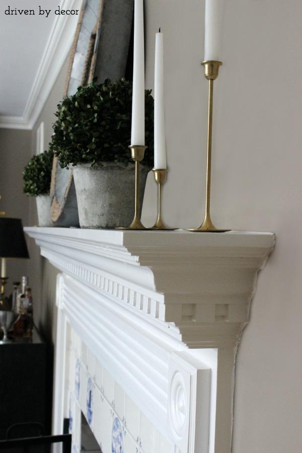 Profile view of fireplace mantelpiece