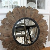 Round wood and iron mirror