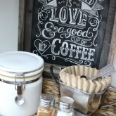 Simple DIY coffee station with chalkboard print
