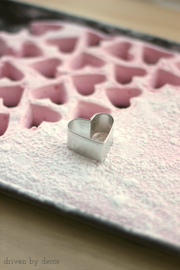 Use a heart cookie cutter to cut out heart-shaped marshmallows