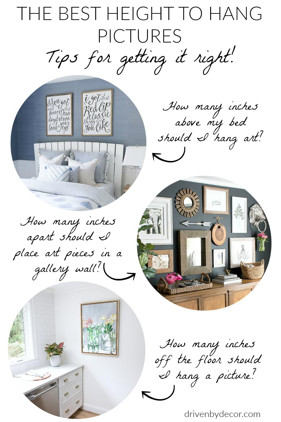 Must-have tips for what height to hang pictures and art on the walls! So helpful!