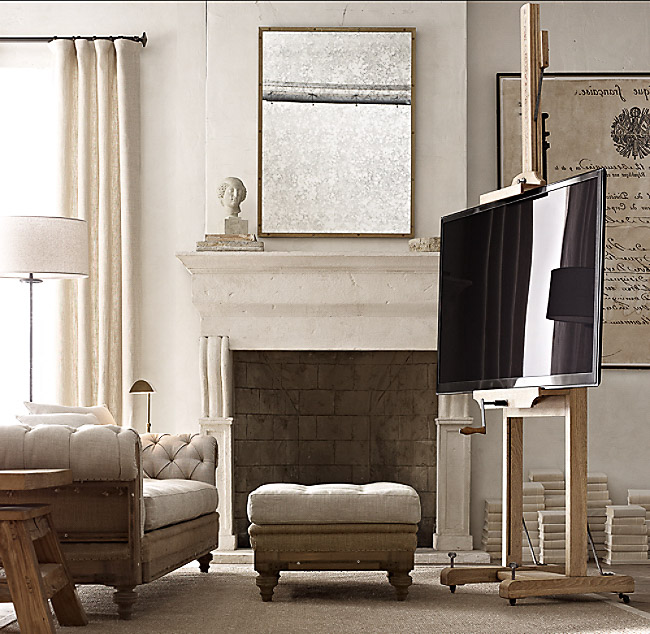 Love this giant easel for holding a flat screen TV - great for a living room corner where it's awkward to put a TV stand!