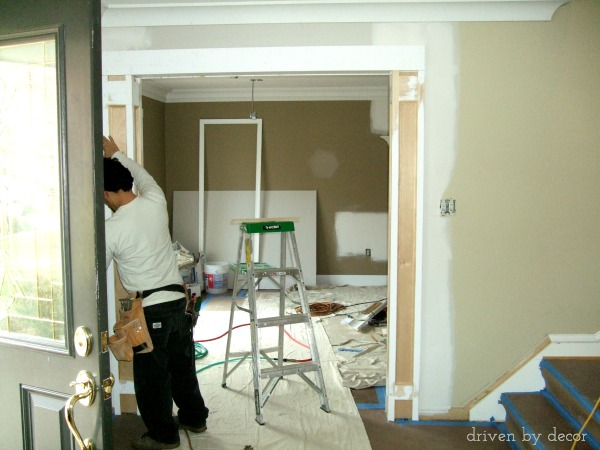 Adding decorative casing to a standard doorway