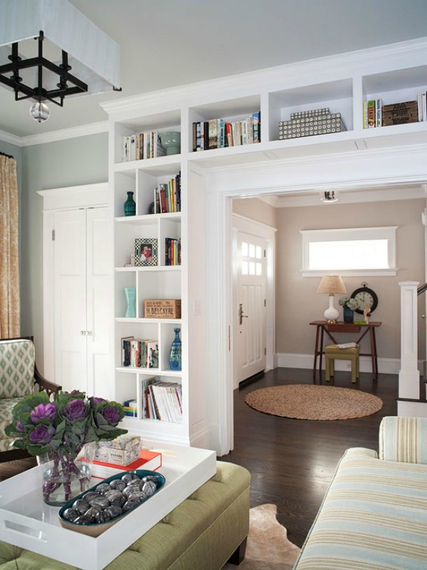 Bookcase surrounding doorway