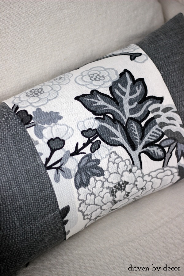 Schumacher Chiang Mai fabric wrapped around linen lumbar pillow