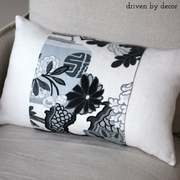 Simple tutorial for adding a fabric accent to a neutral pillow