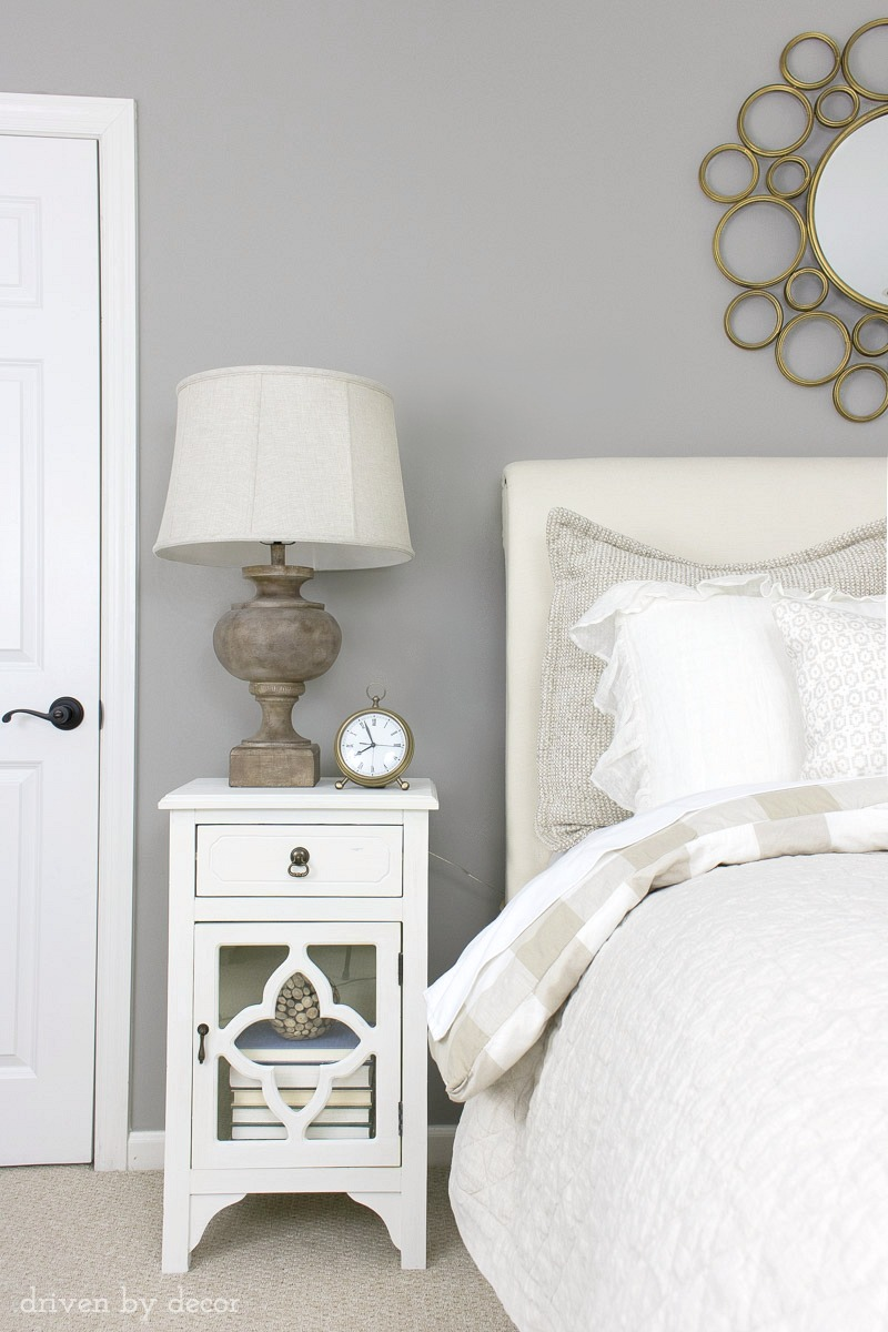 I love this medium-toned greige paint color - a perfect soothing neutral for our bedroom (it's Pratt & Lambert's Ever Classic)! Click through for more details about this color to see if it's right for your room!