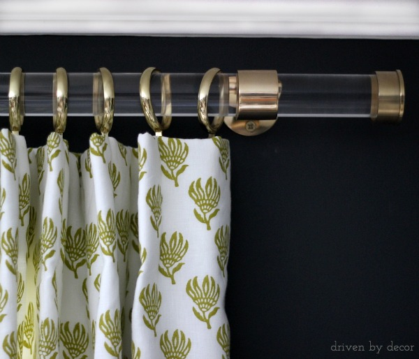 Acrylic drapery rod with gold hardware - so luxe!