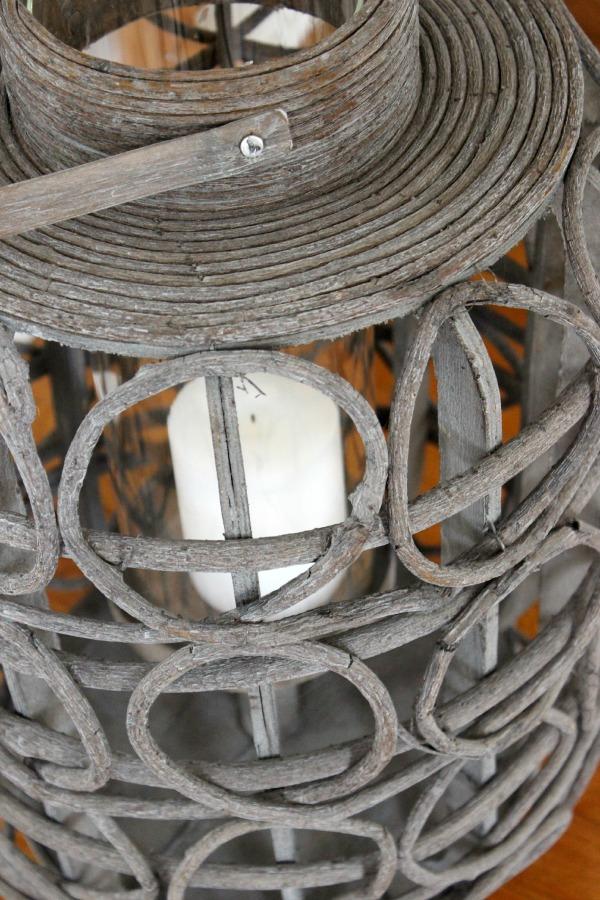 Chunky gray wood lantern