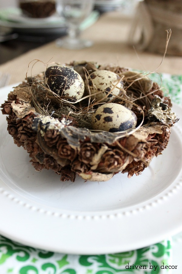 Nest with eggs as part of spring tablescape