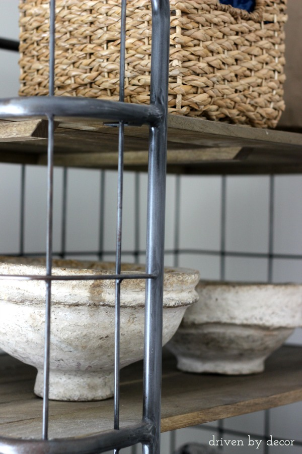 Rustic bowls on wood & metal baker's rack