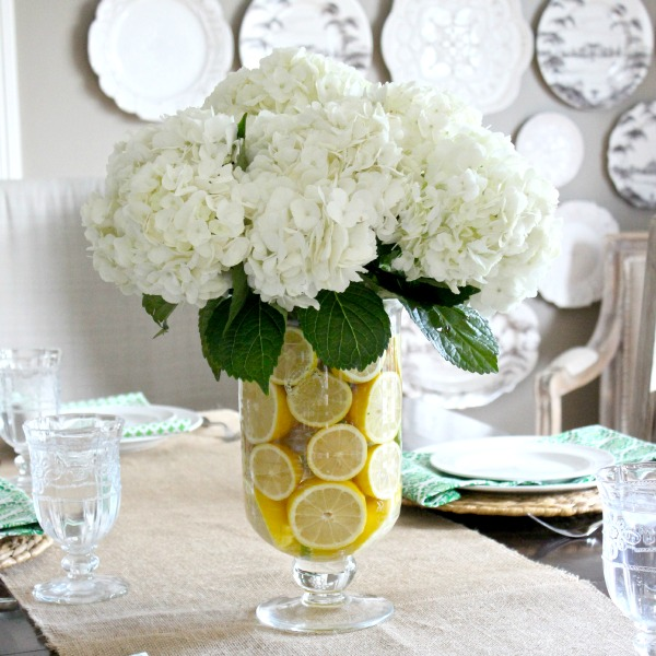 Sliced lemons make a beautiful vase filler