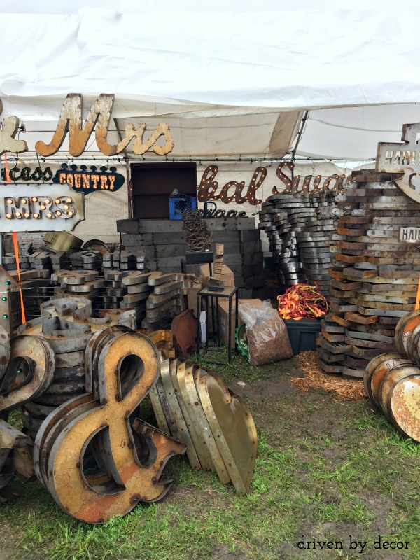 Stacks of industrial metal letters at Round Top