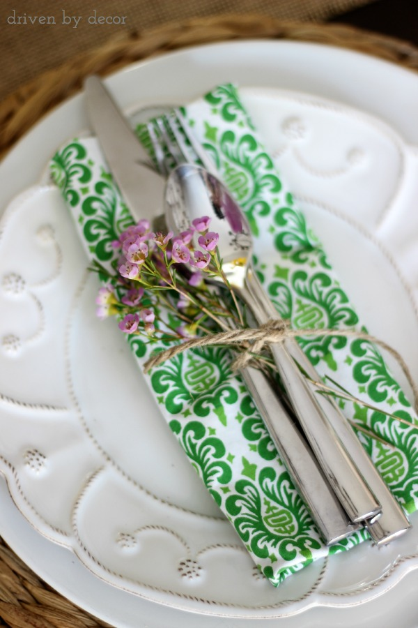 Tie a small floral spring with silverware for a simple spring placesetting