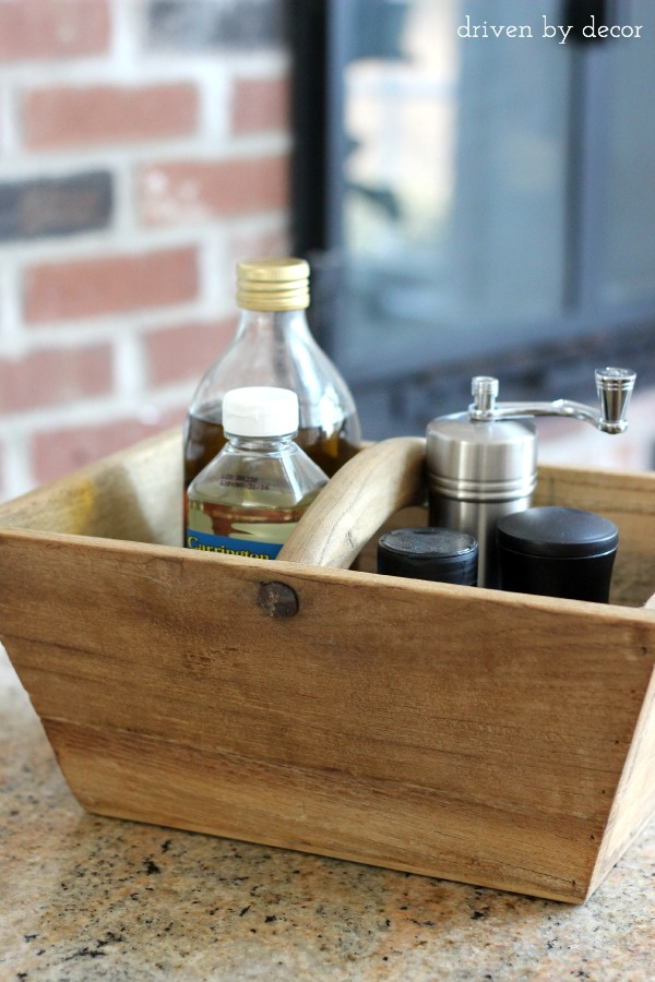 Wood caddy to corral oils and spices by stove