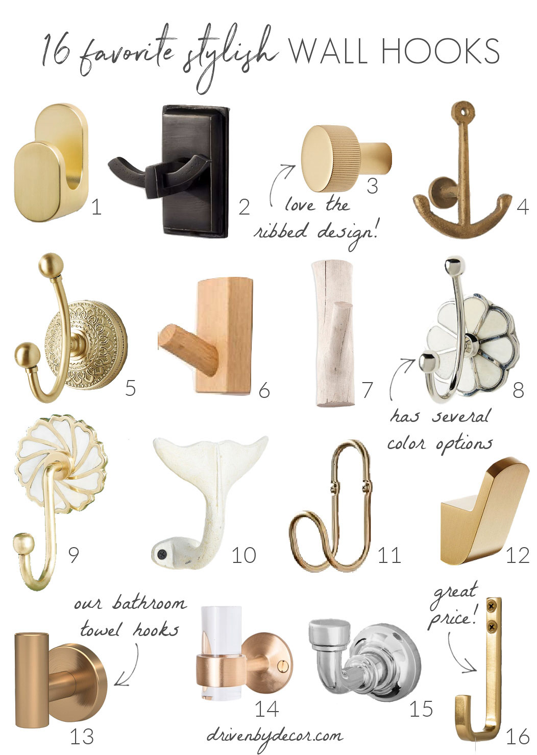 Love these decorative wall hooks!