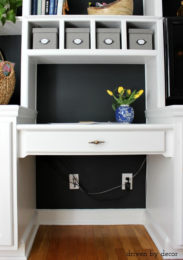 Hiding Our Home Office Cords And Wires With Style