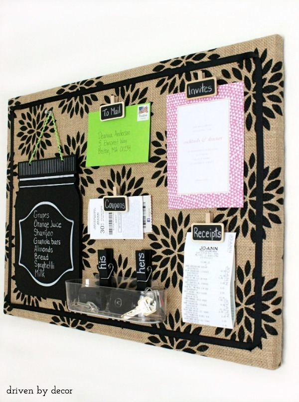 DIY burlap wrapped bulletin board - perfect for getting organized!