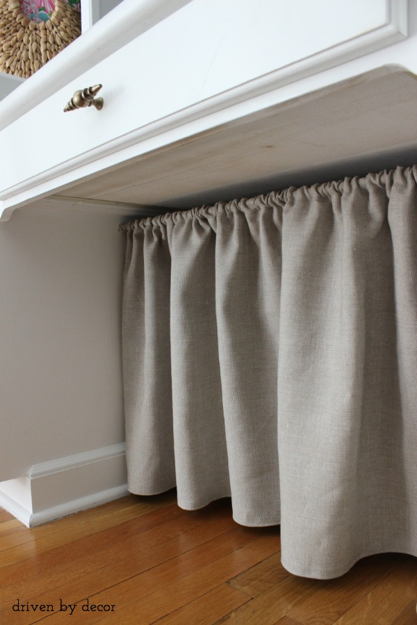DIY skirt under desk hides cord clutter