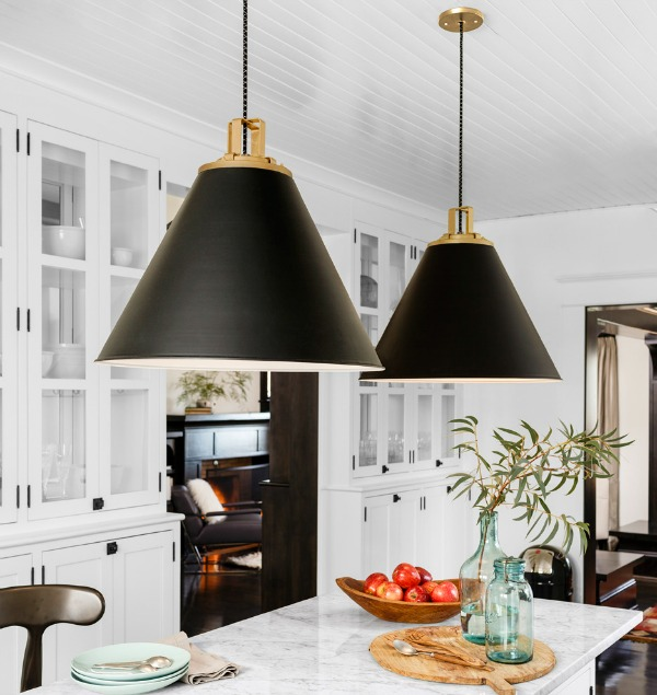 Cone Pendants New Lighting For Our Kitchen Driven By Decor - Black kitchen pendants