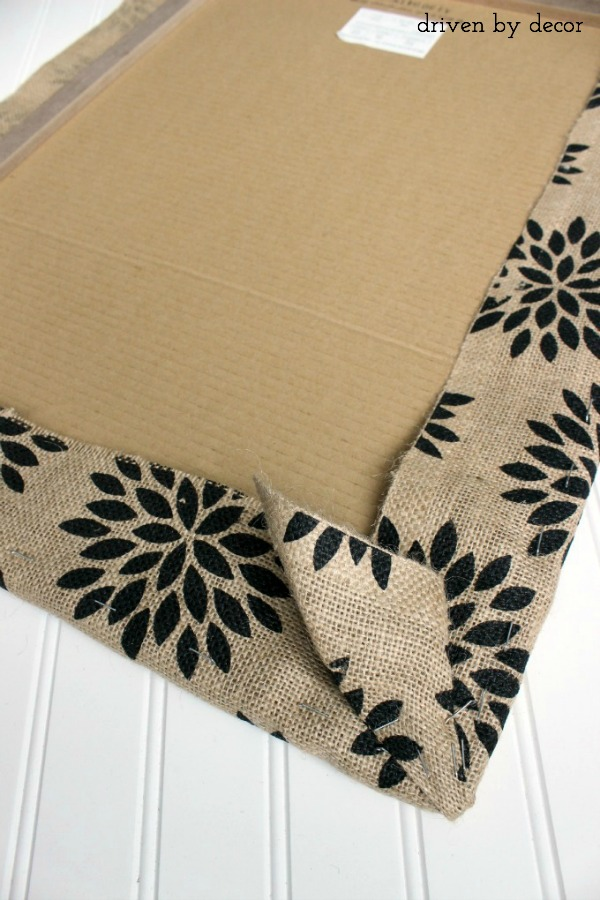 Folding corner to create burlap covered bulletin board